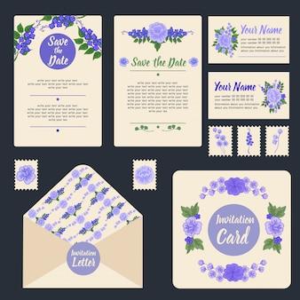 Set stationnaire d'invitation de mariage