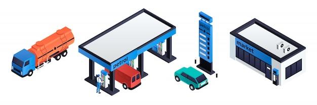 Set de stations d'essence, style isométrique