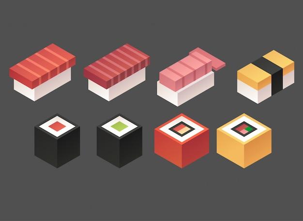 Set de sushi isométrique