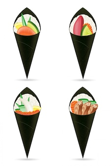 Set sushi main rouleaux vector illustration