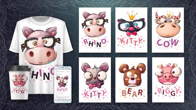 Set tête d'animal - illustration et merchandising