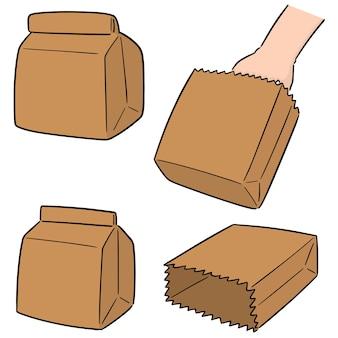 Set de vecteur de sac en papier