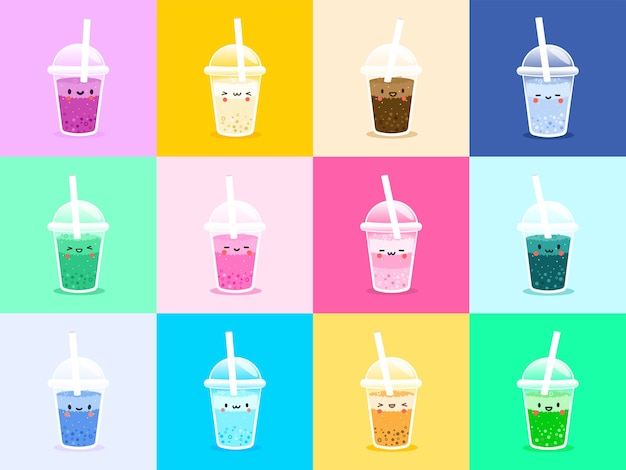 Set vector bubble tea, thé au lait de tapioca.