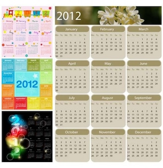 Set vector calendrier annuel unique, créatif