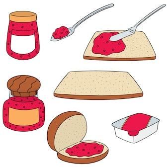 Set vector de confiture et pain
