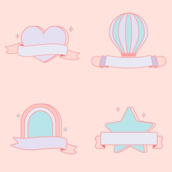 Set de vector emblèmes pastel mignon