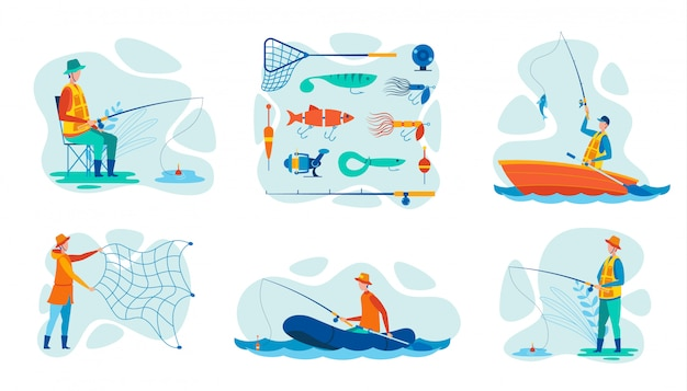 Set vector illustration engins de pêche pour pêcheur