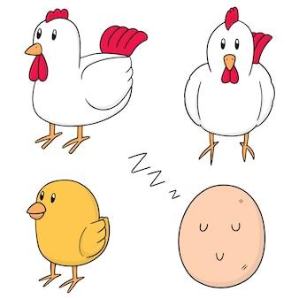 Set vector de poulet et oeuf