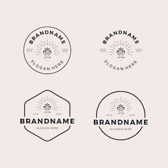 Set vintage badge rétro logo design illustration vectorielle