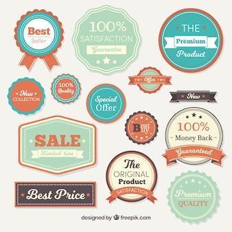Set vintage de badges de vente