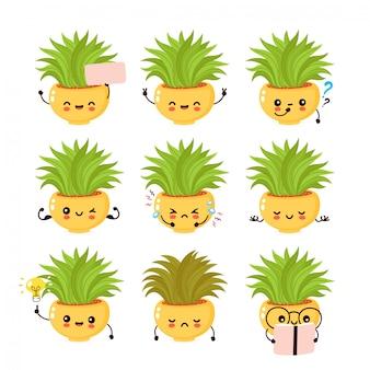 Setcollection de plantes souriantes mignonnes