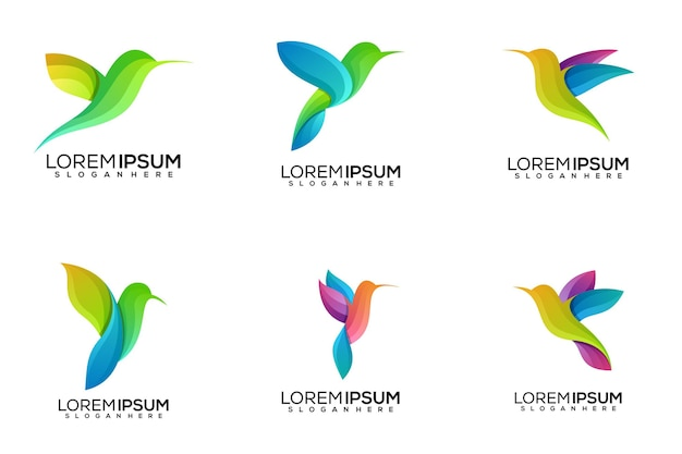 Sett of bird logo design