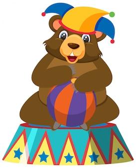 Seul personnage d'ours de cirque sur fond blanc
