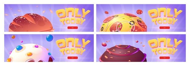 Seulement aujourd'hui des bannières web de dessins animés avec des planètes alimentaires