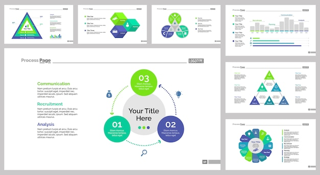 Seven logistics slide templates set