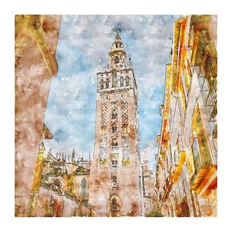 Séville espagne aquarelle croquis dessinés à la main illustration
