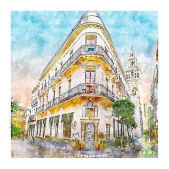 Séville espagne croquis aquarelle illustration dessinée à la main