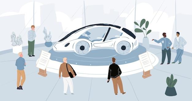 Sexhibitors de personnage plat de dessin animé et visiteurs à la conférence expo du salon de l'automobile