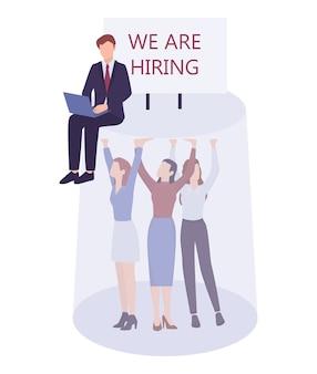 Sexisme des affaires. plafond de verre et problèmes de discrimination au travail pour les femmes. agent rh homme d'affaires n'engageant que des hommes pour un poste élevé. .
