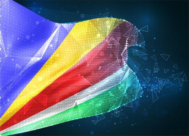Seychelles, drapeau vectoriel, objet 3d abstrait virtuel à partir de polygones triangulaires sur fond bleu