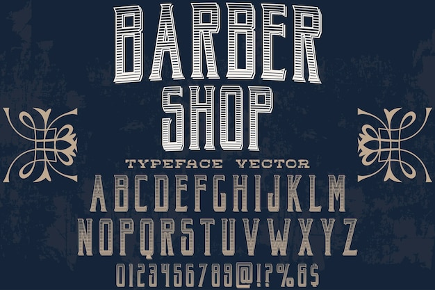Shadow effect alphabet label design coiffeur