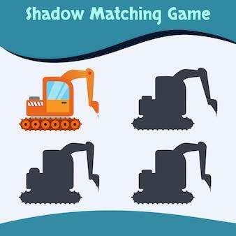 Shadow matching game machines edition vecteur premium bon pour l'éducation et la collection des enfants
