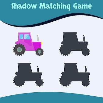 Shadow matching game truck edition premium vecteur bon pour l'éducation et la collection des enfants