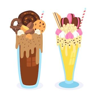 Shake monstre dessiné à la main avec du chocolat et du macaron