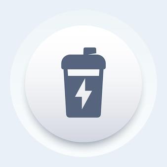 Shaker de sport, nutrition pour l'icône ronde d'entraînement de gym