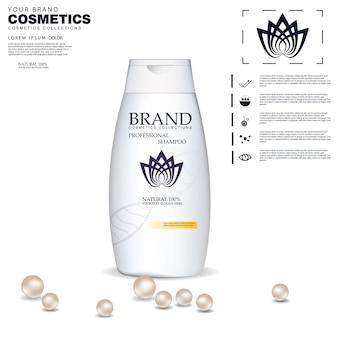 Shampooing bouteille en plastique ou conception de modèle de bouteille de gel douche