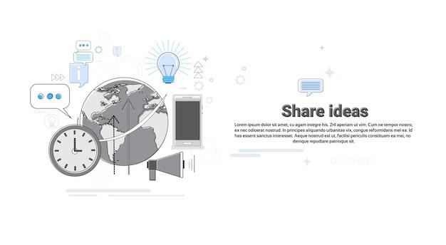 Share idea concept de coopération pour le commerce mondial banner thin line vector illustration