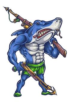 Shark revenge mascotte design