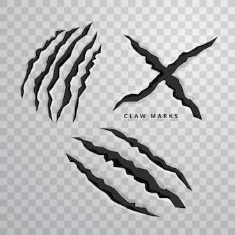 Sharp claw marks sur fond isolé