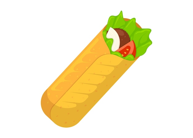 Shawarma fast food rouleau de viande arabe oriental toasty doner kebab repas cartoon shaurma ou burrito