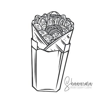 Shawarma ou wrap de poulet dans un contour d'emballage en papier