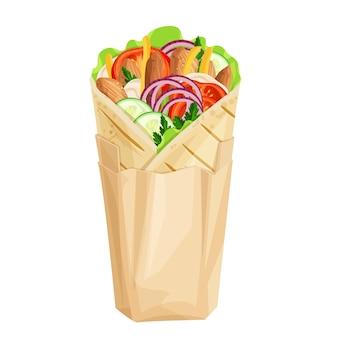 Shawarma ou wrap de poulet dans l'icône d'emballage en papier