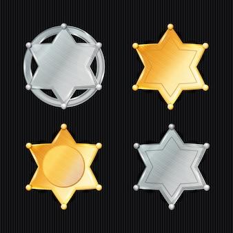 Shérif badge star vector set. différents types. symbole classique. département de la police municipale. isolé sur noir