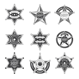 Le shérif étoiles badges. western star texas et boucliers rangers ou logos images vintage