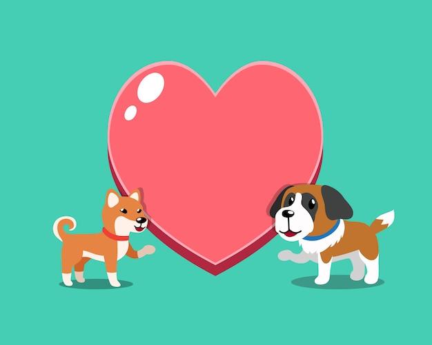 Shiba inu chien et saint bernard chien avec grand coeur
