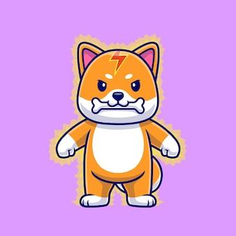 Shiba inu dog foudre thunder bite bone cartoon vector icon illustration. concept d'icône de nature animale isolé vecteur premium. style de dessin animé plat