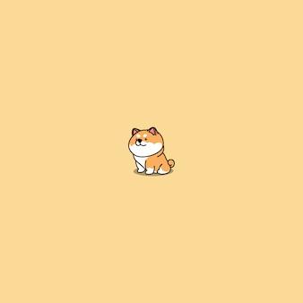 Shiba inu mignon chien assis caricature