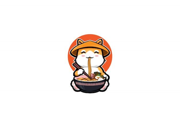 Shiba inu avec style cartoon manger des ramen