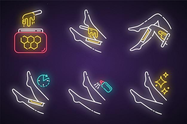 Shin cirant ensemble d'icônes de lumière au néon. épilation des jambes avec processus de bandes de cire chaude au miel naturel