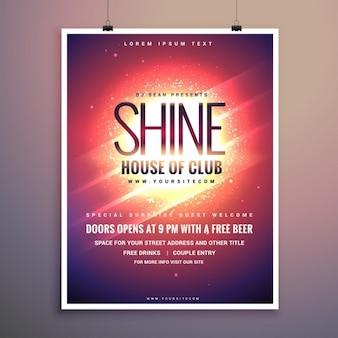 Shine club flyer template musique de fête avec un fond rougeoyant
