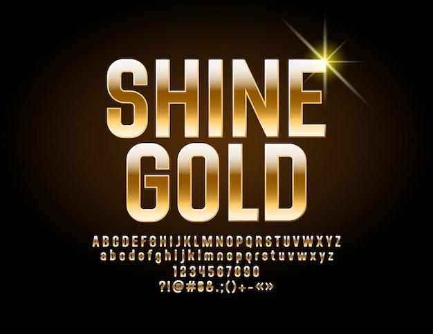 Shine font golden alphabet chic lettres chiffres et symboles