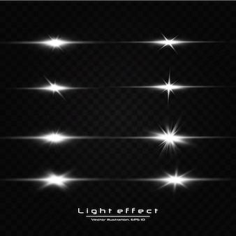 Shine starlight sur fond transparent. effet de lumière rougeoyante ensemble de flashs, lumières et étincelles sur un fond transparent.