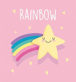 Shooting star arc-en-ciel coeurs aiment dessin animé décoration fond rose illustration vectorielle