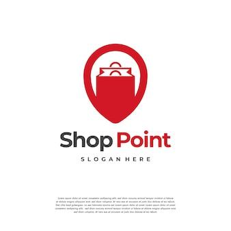 Shop point logo conçoit le vecteur de concept, modèle de conception de logo de magasin local, icône de symbole de logo