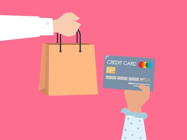 Shopper payant par illustration de carte de crédit