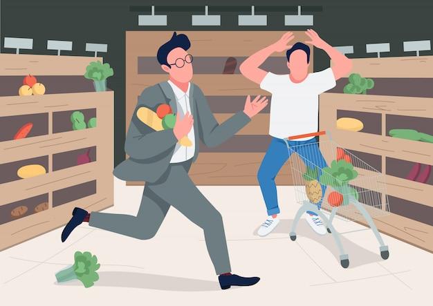 Shoppers en panique illustration couleur plat